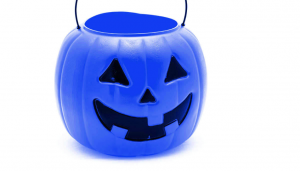 Blue Halloween Treat Bucket for Stress-Free Halloween