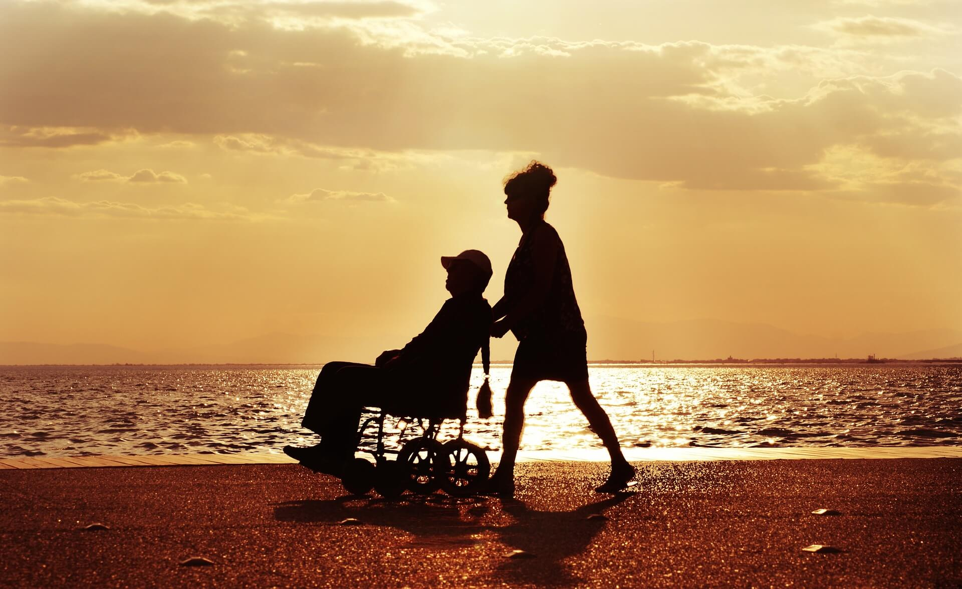 Elderly person and caregiver